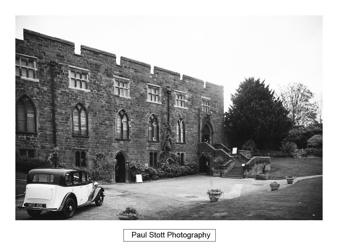 bridal car arriving shrewsbury castle - Wedding Photography Shrewsbury Castle - Aprille and Steven