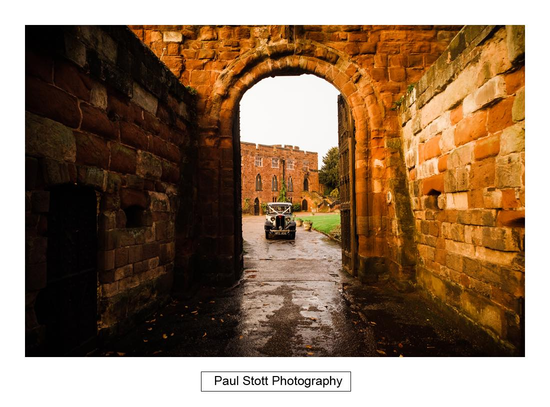 bridal car leaving shrewsbury castle - Wedding Photography Shrewsbury Castle - Aprille and Steven