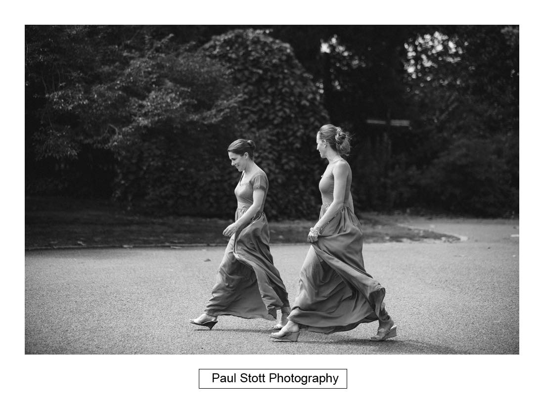 bridesmaids walking - Wedding Photography Capel Manor - Zaineb and Jonny