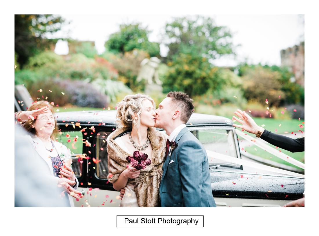 confetti car - Wedding Photography Shrewsbury Castle - Aprille and Steven
