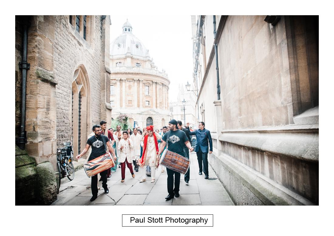 oxford indian wedding procession 002 - Wedding Photography Oxford Town Hall - Christian and Radhika