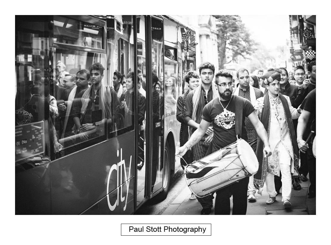 oxford indian wedding procession 003 - Wedding Photography Oxford Town Hall - Christian and Radhika