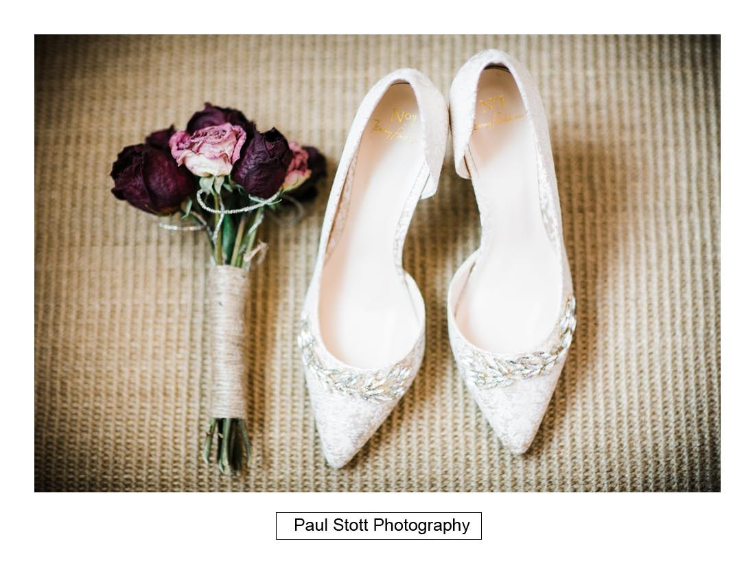 shoes flowers - Wedding Photography Shrewsbury Castle - Aprille and Steven