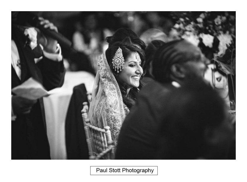 bride listening to speeches