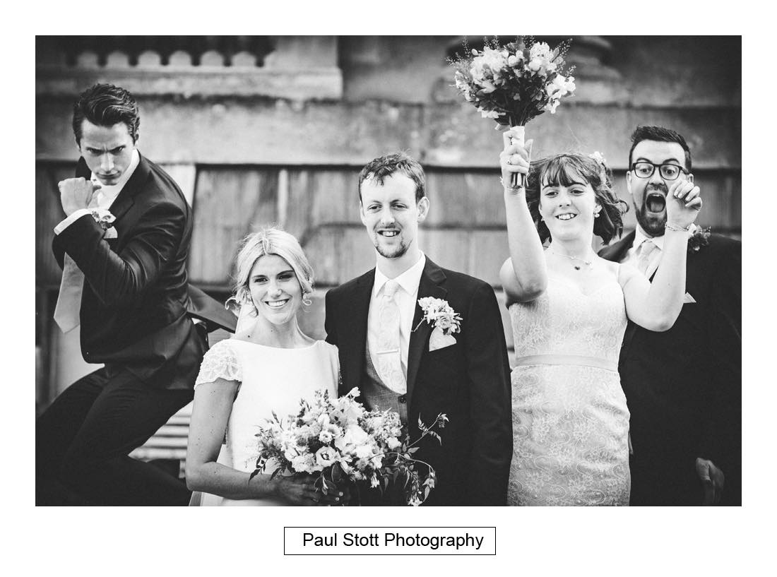 fun group shot 1 - Wedding Photography Botleys Mansion - Lucy and Phil