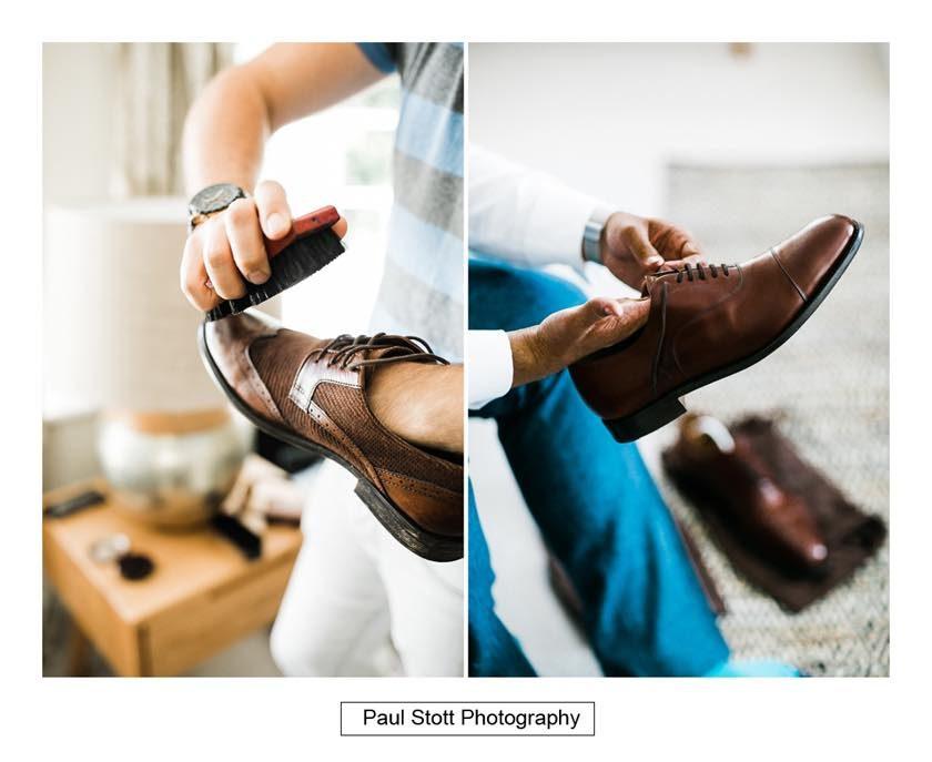 Ushers polishing their shoes