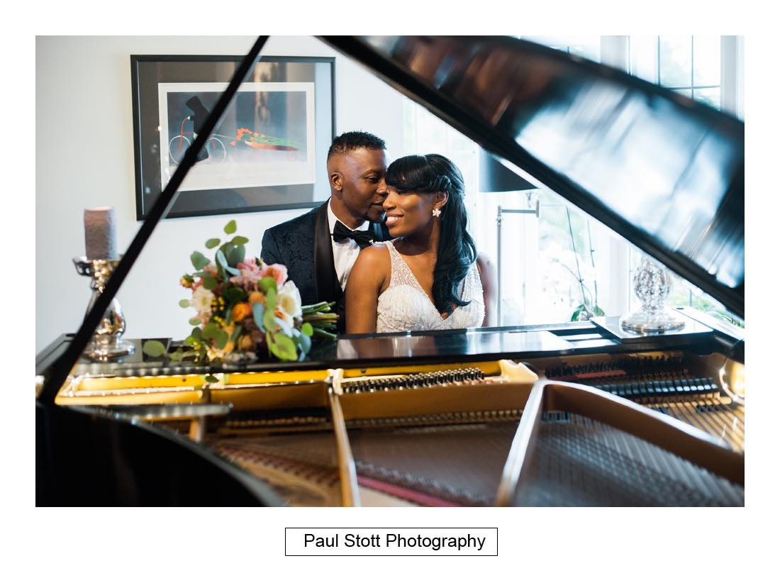 bride groom piano russets 1 - Wedding Photography Russets Country House - Alisha and Oscar