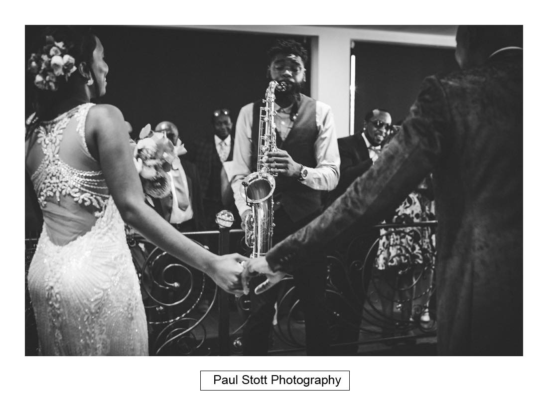saxophinist 1 - Wedding Photography Russets Country House - Alisha and Oscar