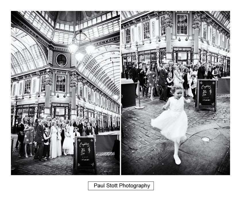 wedding group shot - Leadenhall Market  Wedding Photography - Ben and Elle
