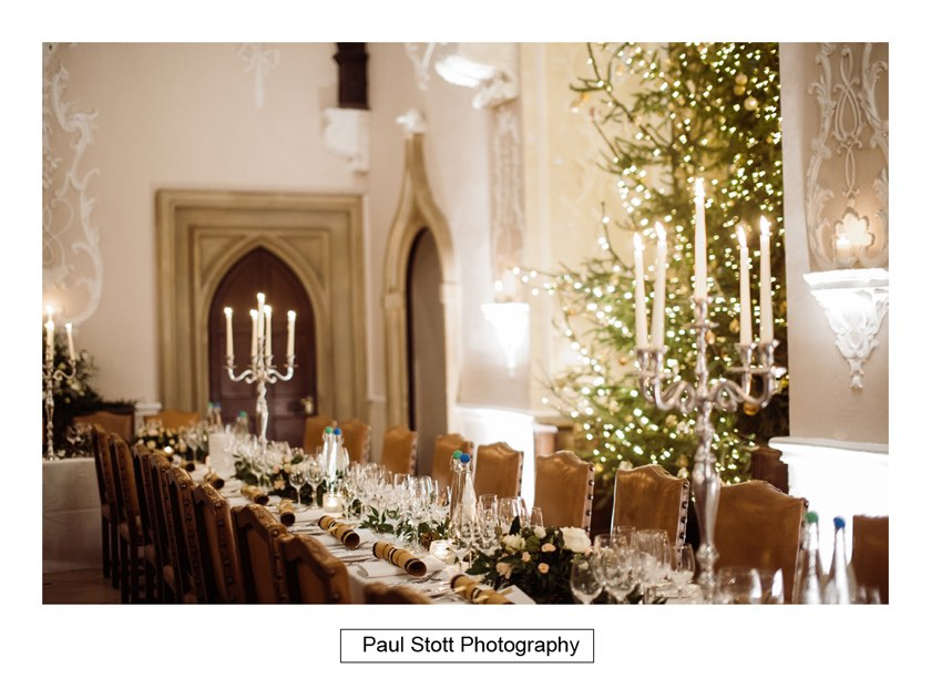 Christmas table decorations Wiston House 003 1 - Wiston House Wedding Photography - Laura and Will