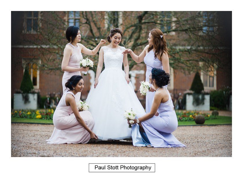 bride bridesmaids 001 - Wotton House Wedding Photography - Na Lee and James
