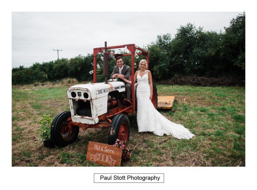 bride groom tractor - Crow Farm - Gemma and Phil
