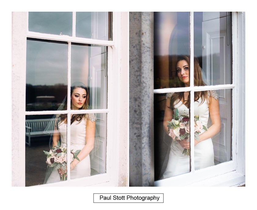 Bride By Window Froyle Park 001 - Froyle Park Wedding Photography - Rhian and George