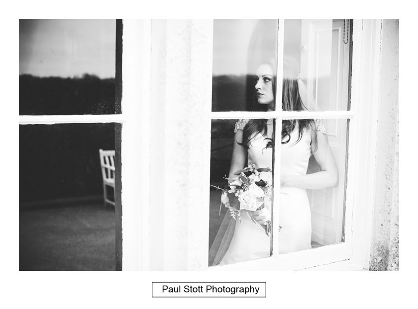 Bride By Window Froyle Park 002 - Froyle Park Wedding Photography - Rhian and George