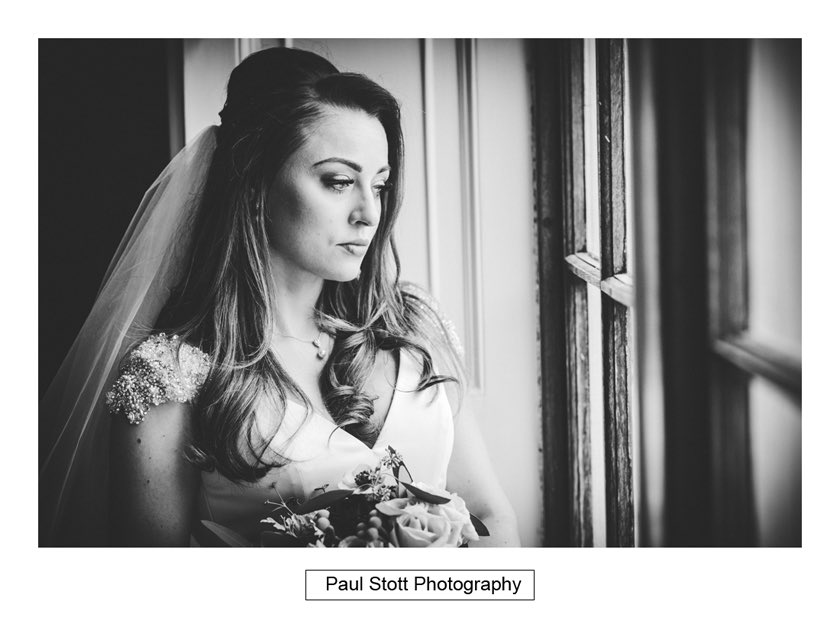 Bride By Window Froyle Park 003 - Froyle Park Wedding Photography - Rhian and George