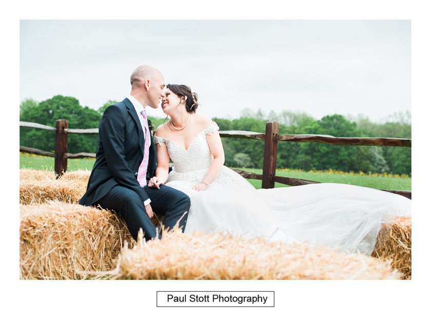bride groom hay bales taylors farm retreat 001 - Wedding Photography Taylors Farm - Sylvie and Paul