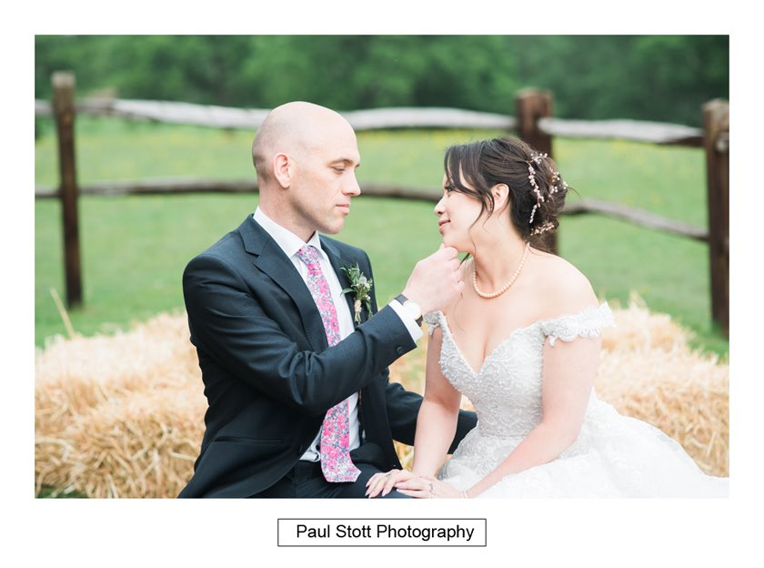 bride groom hay bales taylors farm retreat 002 - Wedding Photography Taylors Farm - Sylvie and Paul